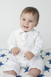 Wholesale Custom Baby Boy Outfits - Baby Boys Christening Outfit   Christening Suit 3pc Suit Navy Bow Tie