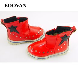 Wholesale Low Price Boot - Koovan Children Boots 2017 Crush Low Price Baby Shoes Star Cotton Boots Boys Girls Kids Rivet Leather Martin Children Shoes KX168