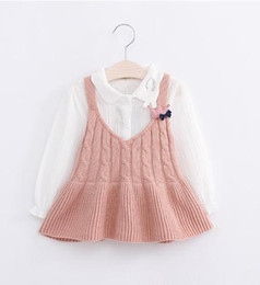 Wholesale Little Girls Spring Sweater - Sweet Girls Knitting Suspender Dresses 2017 Autumn Kids Boutique Clothing 2-7 Year Little Girls Sweaters Tops