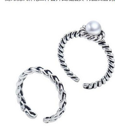 Wholesale China Wholesale Weave - anqitue silver dia 1.5cm 2pc tse pearl ring Simple woven twist two piece female ring opening Korea retro imitation freshwater pearl ring