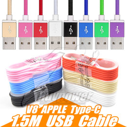 Wholesale Mix Plug - Micro USB Cable Type-C 1.5m Nylon Data Line Charging Cable Colorful Metal Plug For Oneplus 3 Samsung Galaxy S8 G5 Device Transfer