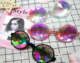 Wholesale Rainbow Sunglasses - Fashion Geometric Kaleidoscope Glasses Rainbow Rave Lens Bling Bling Prism Crystal Diffraction Sunglasses Black Pink Clear