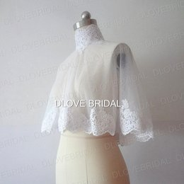 Wholesale Lace High Neck Shawls - High Quality High Neck Bridal Wrap with Lace Applique Real Photo White Ivory Wedding Jacket Bolero Shawl Covered Buttons One Size Fit All