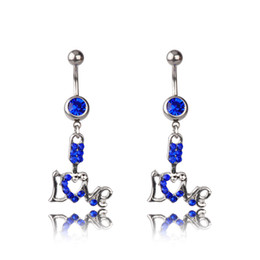 Wholesale Piercing Navel Love - Body Jewelry Fashion Belly Button Rings 316L Stainless Steel Barbells Dangle Rhinestone Letter LOVE Navel Piercing Rings