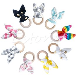 Wholesale Toy Ring Baby - Wholesale-Retail Baby Teether Teething Ring Wood Ring Maple Teething Ring Round Natural Wood Beads Toys For Baby Smooth A19267