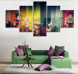 Wholesale Wall Dragon Decor - 5 Piece HD Print Painting Dragon ball Z Goku Growth Paintings on Canvas Wall Art for Home Decorations Wall Decor Poster