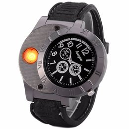 Wholesale Led China Watches - Fashion Military 2 in 1 Huayue Rechargeable USB Watch Lighter Windproof Electronic Cigarette Lighter LED Flameless Quartz Watch Mini Lighter