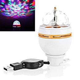 Wholesale Interface Usa - Mini RGB 3W LED MP3 DJ Club Pub Disco Party Music Crystal Magic Ball Stage Effect Light Auto Rotating Bulb With USB Interface