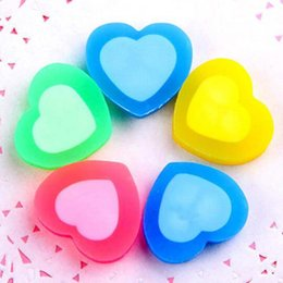 Wholesale Cute Christmas Stationery - 30 Pcs   Lot Cute Colorful Heart Shape Rubber Eraser Cartoon School Office Stationery For Kids Christmas Gift Prize Free Shipping
