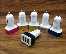 Wholesale Mobile Phone Warranties - 1 Year Warranty 4.1A Max 3 Port Car USB Charger Aluminum Mini Mobile Phone Charger for Wholesale