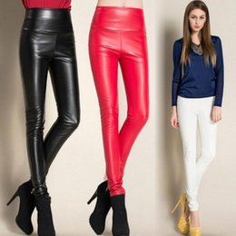 Wholesale Wholesale High Street Clothing - Sexy Women High Waist Stretchy Faux Leather Skinny Tights Shiny Leggings Pants Slim Thin Trousers Feet Street Style Fashion Clothing 4 Size