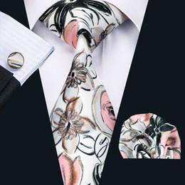 Wholesale Stainless Steel Wash - Mens Printed Ties Red Black Ink And Wash Flower Pattern White Business Wedding Silk Tie Set Include Tie Cufflinks Hankerchief N-1259