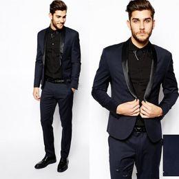 Wholesale Mens Dress Burgundy Suit - Navy Blue High Quality Groom Tuxedos Shawl Lapel Groomsmen Mens Wedding Dresses Clothing Prom Suits (Jacket+Pants+Girdle+Tie) AA1054