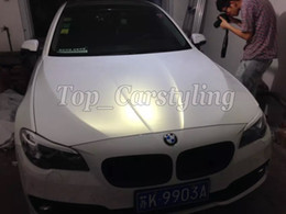 Wholesale Matte White Cars - Chameleon Pearlescent Matte White gold Vinyl Wrap With Air Release Satin pearl white Matt Film For Car Wrap styling skin size 1.52x20m Roll