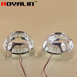 Wholesale Led Light Eye Mask - LED Angel Eye Daytime Running Lights DRL for 2.5 3.0 Bixenon HID Projector Headlights Lens Bezel Mask for Porshce Panamera Style