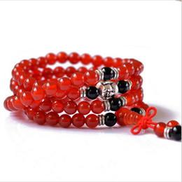 Nouveau 2016 Naturel Rouge ou Noir agate perles bracelets Mode 6 MM 108 perles bracelets Pour les femmes Bouddha tête bijoux ornements ? partir de fabricateur