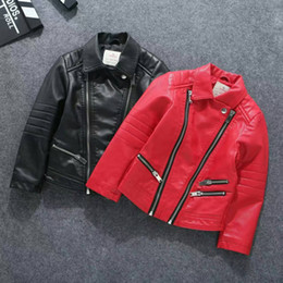 Wholesale New Leather Clothing - 2017 kids clothes kids clothing boys clothing boys clothes new autumn styles are children leather jacket lapel children PU 8pcs lot