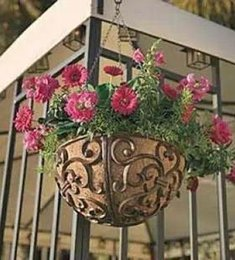 Wholesale Iron Pots Holder - Round Rustic Cast Iron Hanging Flower Basket Flower Pot Holder Heavy Metal Outdoor Garden Plant Holder Hanger Garden Free Ship