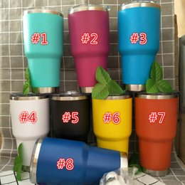 Wholesale Ice Stock - New 30oz Tumbler Colder Plated Mug 8 Color in stock Stainless Steel Car Mugs Ice Keep Cold double wall Vacuum Insulation Cup DHL
