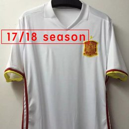 Wholesale New Spain Away White Soccer Jersey Morata Ramos Pique Iniesta Football Shirt Spain National Jerseys Sized S to XL