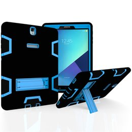 Wholesale Silicon Case Galaxy S3 - Kickstand Tablet Case For Samsung Galaxy Tab S3 T820 T825 Cover Hybrid 3 In 1 Shockproof Heavy Duty 360 Degree Full Body Protection