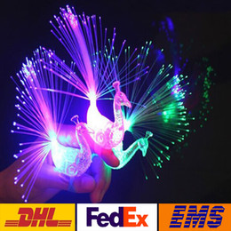 Wholesale Fiber Optic Peacock - LED Colorful Peacock Fiber Optic Finger Lights Rings Night Light Flashing Night Light Toys Christmas Party Night Lights WX-T38