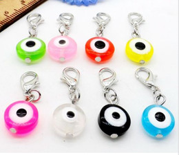 Wholesale Evil Eye Pendant For Bracelet - 100pcs lot Mixed Turkish Evil Eye Charms lobster Clasp Dangle Charms pendant For Bracelet diy Jewelry Making findings Bead 32x11mm