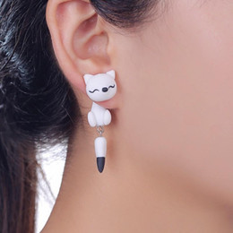 Wholesale Handmade Gold Plated Earrings - New Handmade Polymer Clay Black and White Fox Stud Earrings For Women Fashion Animal Piercing Earrings Jewelry 2223