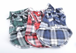 Wholesale Cotton Dresses For Dogs - 2016 Puppy Pet Dog Cat Costumes Grid Checker Dogs Shirt Tops Clothes Coat Apparel Dress Clothes For Dogs WA0287