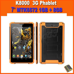Wholesale Mtk Battery - Fast DHL Shipping 20pcs Cool Rugged 3G Phone Call Tablet PC MTK6572 1GB 8GB 1024*600 HD Phablet Big Battery GPS Bluetooth Wifi