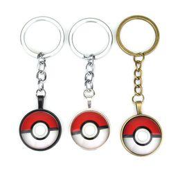 Wholesale Pokemon Key - Poke Go Pokeball Unique Design Key Chain Glass Cabochon Pendant Eevee Key Ring Anime Jewelry Best Gifts for women Halder Keychain 694