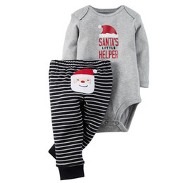 Wholesale Santa Claus Clothes Baby Suits - Christmas My First Outfit For Baby Boy Girl Set Clothes 2PC Suit Newborn Long Sleeve Santa Claus Bodysuit+Striped Pant Tracksuit Costume