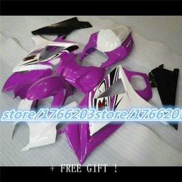 Wholesale Motorcycle Parts Tanks - Fairing With Cover Half Tank Cover Fit GSXR1000 K7 2007-2008 GSXR 1000 07-08 Purple Black Motorcycle Accessories & Parts