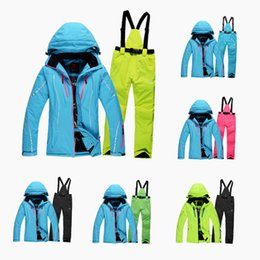 Wholesale Clothes Jackets Woman - Wholesale-Free Shipping Winter New Arrivals Women Ski Suit High Quality Outdoor Snowboarding Jacket+Pant Warmth Thicken Waterproof Clothes