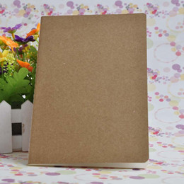 Wholesale kraft notebooks wholesale - Brown kraft cover stitching notepad school exercise soft daily notebook with line for students and kids use