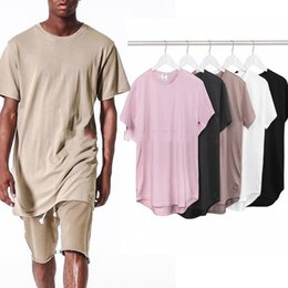 Wholesale Black Oversized Top - 2016 TOP men t-shirt fashion Khaki kanye west grey kpop trends clothes represent urban extended curved hem oversized Tee 5 color