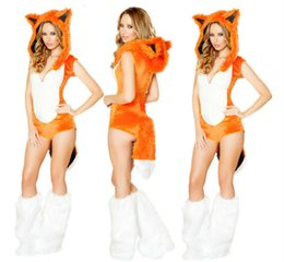 Wholesale Adult Sexy Outfits - Wholesale-2016 New Adult Womens Sexy Charming Halloween Party Fox Costumes Outfit Fancy Animal Cosplay Dresses Size M With Leg Warmers