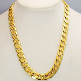 Wholesale Mens Figaro Necklace - FINE YELLOW GOLD JEWELRY Heavy! Free shipping Classic mens 18k real yellow solid gold chain necklace 23.6inch