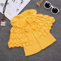 Wholesale Mixed Kids Clothes - INS Kids Girls Knit puff cardigan baby girl Batwing poncho babies Fall Winter outwear knit sweaters children's clothes