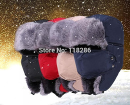 Wholesale fur ushanka - Wholesale-Fashion unisex winter Windproof hat with face mask Sport Outdoor ski ushanka earflap hat bomber trapper caps bomber russian hats