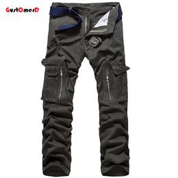 Wholesale Camouflage Pants For Plus Size - Wholesale-High Quality 100% Cotton Camouflage Cargo Pants For Men Hip Hop Pants Tactical Pants Men 7 Colors Pantalon Homme Plus Size 28-40