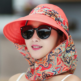 Wholesale Uv Sun Cream - Wholesale- 2016 New Women Summer Hats Can Be Folded Sun Hat Visor Outdoor Big Beach Hat Anti Uv Shield Face Casual Cotton Cap Camping