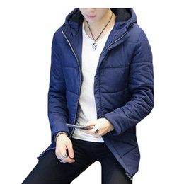 Wholesale Korean Overcoat Mens - Parkas Mens 2018 Zipper Cool Style Overcoat Cotton Tide Coat Down Jacket Winter Park Man Slim Korean Hooded Separate Cotton Clothes
