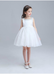 Wholesale Wholesale Ivory Flower Girl Dresses - New Flower Girl Dresses White Ivory Real Party Pageant Communion Dress Little Girls Kids Children Dress for Wedding EMS   DHL Free
