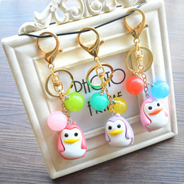 Wholesale Jewelry Doll Holders Wholesale - Creative Acrylic Beads Pendant Key Chain Cute Penguin Doll KeyChains For Women Bag Car Phone Key Ring Holder Jewelry B794Q