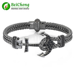 Wholesale Stainless Bangle Men - BC Fashion Atolyestone Artillery Anchor Bangel Made of Silver Wire Braids Stainless Steel Magnestic Clasp Bracelet Bangle Men Jewelry