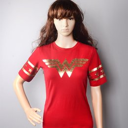 Wholesale Prince T Shirts - Wonder Woman Diana Prince Cosplay Red Short Sleeve T-Shirts Tee Shirts for Women