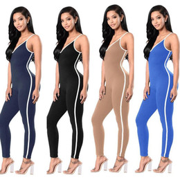 Wholesale Cheap Womens Plus Size Suits - Wholesale- Spaghetti Strap Plus Size Full Body Latex Suit Skinny Fitness Womens Pant Jumpsuit 2017 Summer Cheap Jumpsuits And Rompers
