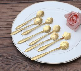 Wholesale Fancy Plating - Stainless steel flower shaped gold-plated spoon The coffee stiring spoon Cherry blossom Sunflower etc beautiful flowers New fancy tableware