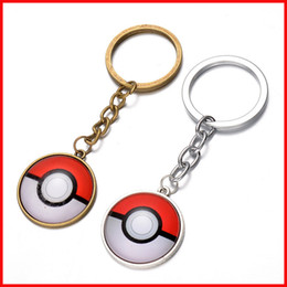 Wholesale Hanging Gems - anime Pocket Monster demon keychain cabochon Time gem key ring keyring pendants men women bags hang jewelry Bronze silver 240325